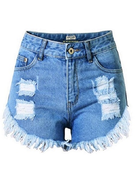 Ericdress Solid Color Ripped Denim Shorts