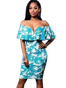 Ericdress Slash Neck Falbala Print Bodycon Dress