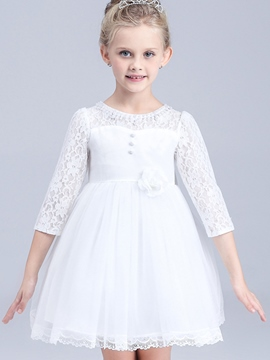 Ericdress Bowknot Appliques Lace Collar Mesh Pleated Girls Dresses