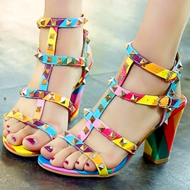 Ericdress Vintage Rivets Open Toe Chunky Sandals