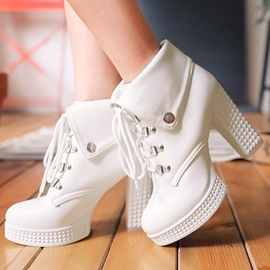 Ericdress PU Platform Round Toe Lace-Up Front High Heel Boots