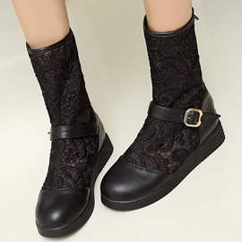 Ericdress Lace Patchwork Flat Boots
