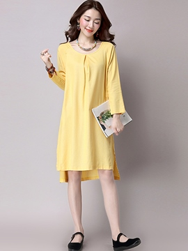 Ericdress Solid Color Loose Long Sleeve Casual Dress