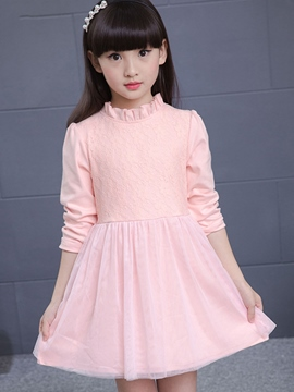 Ericdress Lace Patchwork Falbala Stand Collar Girls Dresses