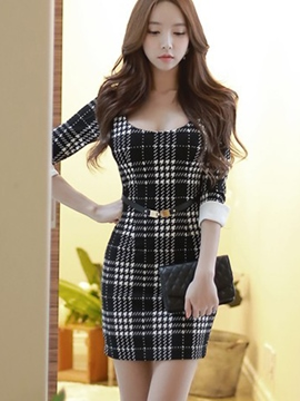 Ericdress Sexy Plaid Half Sleeve Bodycon Dress