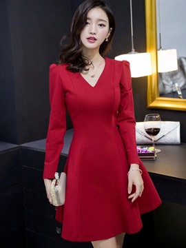 Ericdress Plain V-Neck Long Sleeve Casual Dress