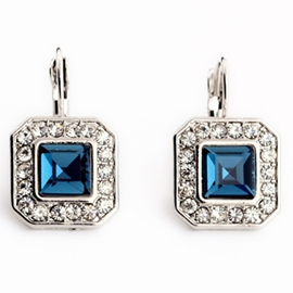 Ericdress Square Blue Gemstone Earrings