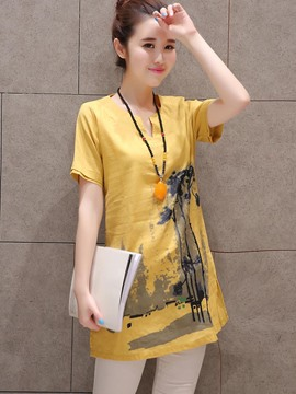 Ericdress Slim Painted Casual T-Shirt