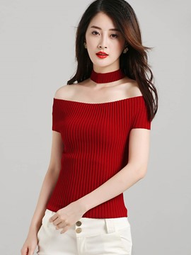 Ericdress Solid Color Cold Shoulder Slim Knitwear