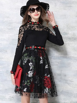 Ericdress Lace Patchwork Ball Gown A-Line Casual Dress