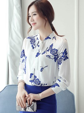 Ericdress Color Block Printed Lace-Up Blouse