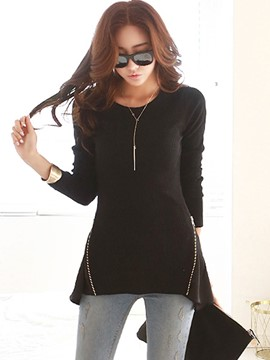 Ericdress Slim Chiffon Patchwork Zipper T-Shirt