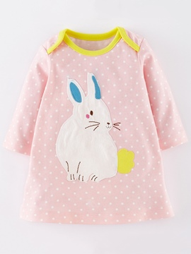 Ericdress Cotton Baby Animal Embroidery Hemming Girls Dress