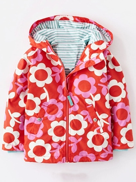 Ericdress Colored Printing Windbreaker Hooded Girls Outerwears