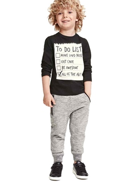 Ericdress Letter Print Color Block Foot Beam Two-Piece Boys Outfits