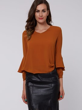 Ericdress Solid Color V-Neck Trumpet Blouse