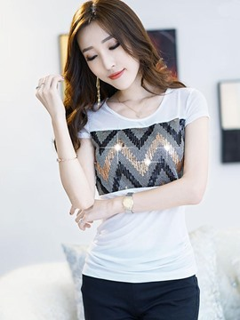 Ericdress Color Block Slim Sequins Patchwork T-Shirt