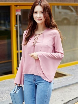 Ericdress Solid Color Lace-Up Trumpet Blouse