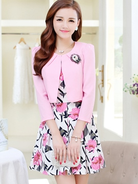 Ericdress Sweet Floral Print Dress Suit