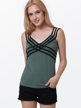 Ericdress Color Block Stripped Strap Vest