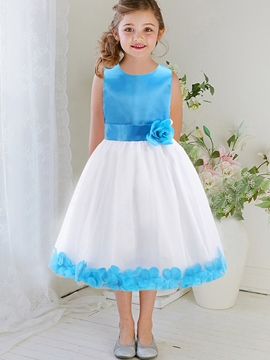 Ericdress Patchwork Petal Lace-Trim Thick Belt Girls Dress