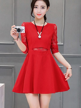 Ericdress Solid Color Lace Patchwork Casual Dress