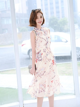 Ericdress Ladylike Chiffon Print Casual Dress