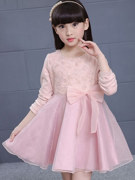 Ericdress Sequin Embroidery Belt-Tied Pleated Girls Dress