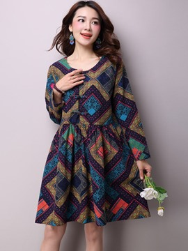 Ericdress Print Long Sleeve Ethnic Casual Dress