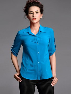 Ericdress Solid Color Single-Breasted Turn-Down Simple Blouse