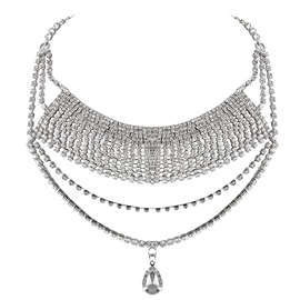 Ericdress Multilayer Rhinestone Water Droplets Necklace