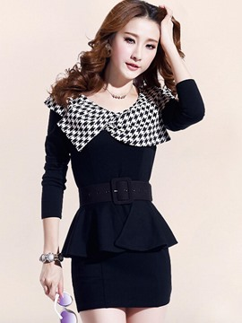 Ericdress Houndstooth Patchwork Double-Layer Bodycon Dress