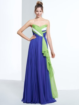 Ericdress A-Line Sweetheart Pleats Zipper-Up Prom Dress With Sweep Train