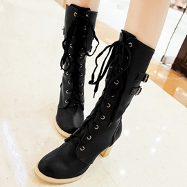 Ericdress Buckles Lace up Chunky Heel Knee High Boots