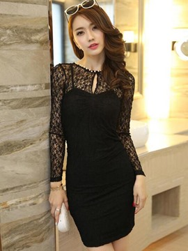 Ericdress Lace Patchwork Long Sleeve Bodycon Dress