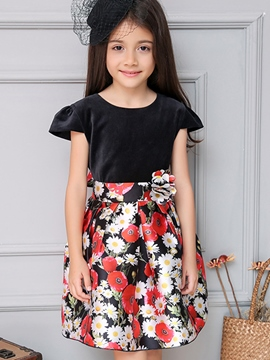 Ericdress Puff Sleeve Bow Belt Floral Printed Pleated Girls Dresses