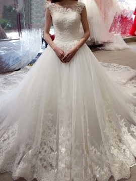 Ericdress Charming Illusion Neckline Appliques Ball Gown Backless Wedding Dress