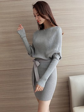 Ericdress Solid Color Bat Sleeve Bodycon Sweater Dress