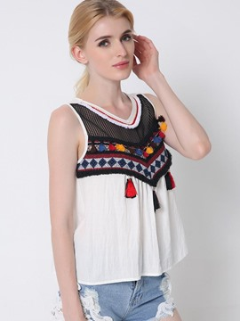 Ericdress Color Block Tassel Vest