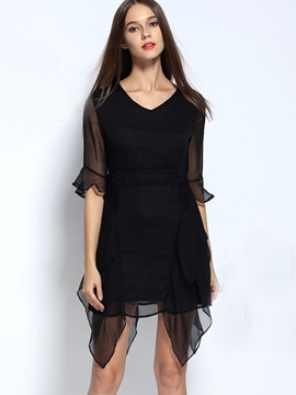 Ericdress V-Neck Asymmetric Little Black Dress