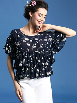 Ericdress Frill Pleated Floral Printed Blouse
