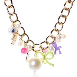 Ericdress Pearl & Bow Decorated Necklace