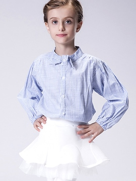 Ericdress Strip Stand Collar Bowknot Shrink Sleeves Girls Tops