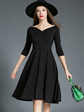 Ericdress V-Neck Three-Quarter Sleeve Expansion Little Black Dress