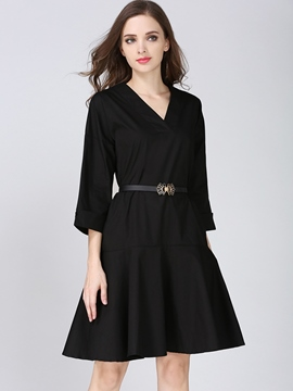 Ericdress V-Neck Little Black Dress
