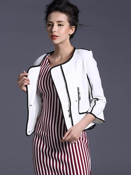 Ericdress Color Block Zipper Elegant Jacket
