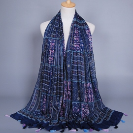 Ericdress Navy Blue Printed Cotton Scarf