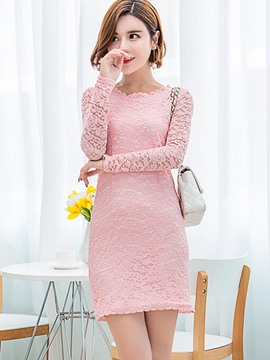 Ericdress Plain Long Sleeve Lace Dress