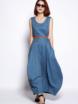 Ericdress Summer Denim Round Neck Sleeveless Maxi Dress