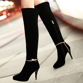 Ericdress Suede Metal Rhinestone Over Knee High Boots